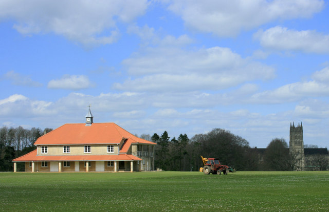 2010 : Cricket pavilion and Abbey Church tower