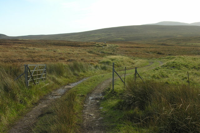 Hill track and gate heading down towards Achnaclyth