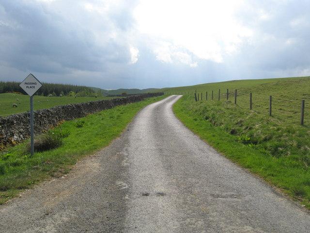 Minor road heading past Branxholme Easter Loch