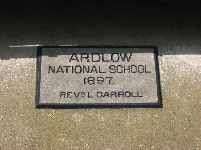 Plaque on Ardlow National School, Virginia