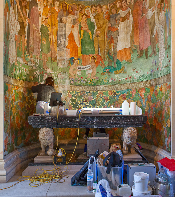 Restoring the mural at all saints church peter facey cc for Church mural restoration