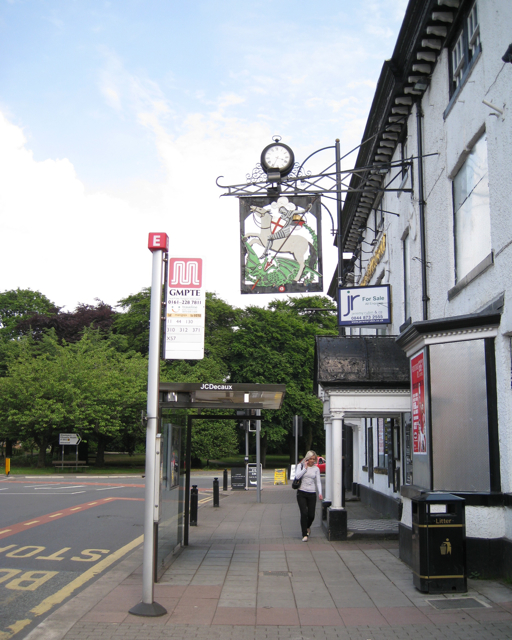 Bus stop by the George & Dragon, High Street, Cheadle
