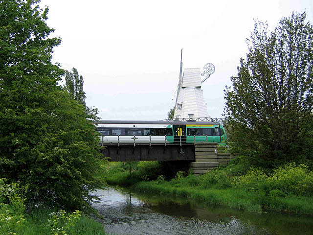 Railway bridge and windmill at Rye