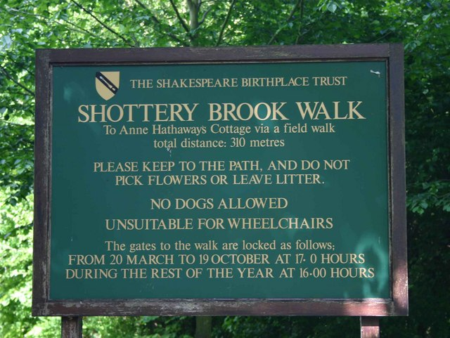 Notice board by Shottery Brook Walk to Anne Hathaway's Cottage