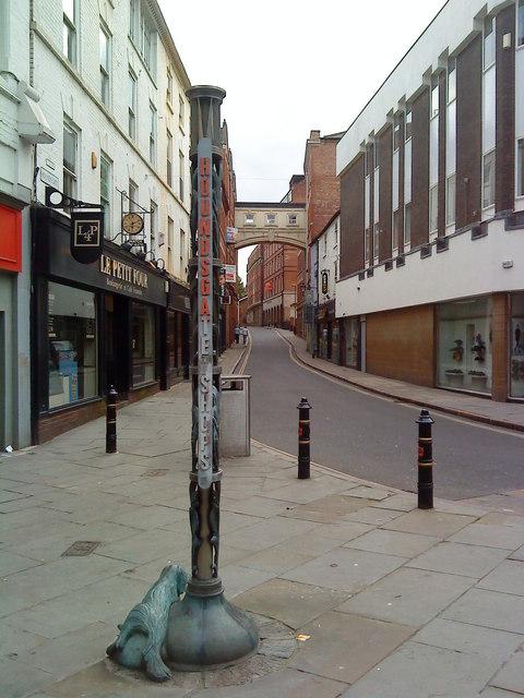Houndsgate Shops indicator post
