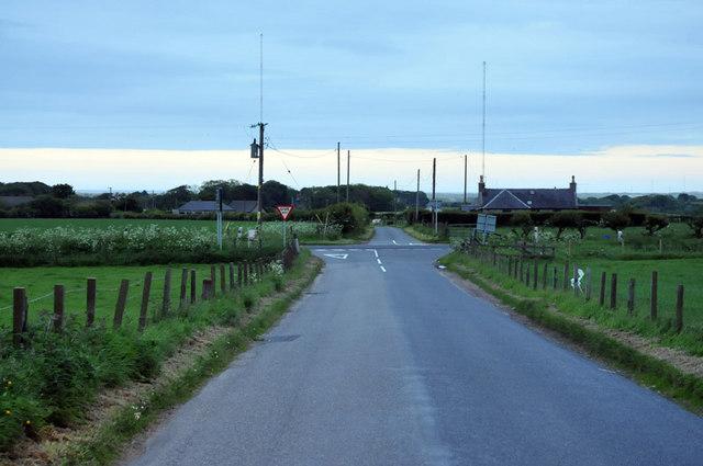 Road junction near Crimond at dusk