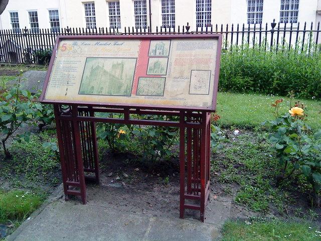 Interpretation board in the churchyard at St. Mary's, Nottingham