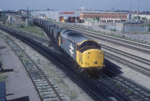Coal empties for Cardiff Docks  at  Pengam