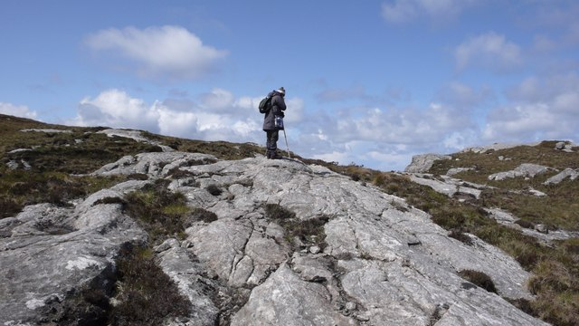 Plates of granite outcrop on moorland near Callum's Road