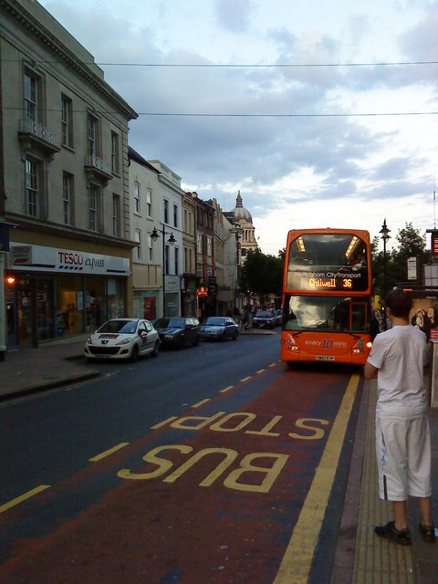 The 26 bus to Chilwell arrives at Angel Row