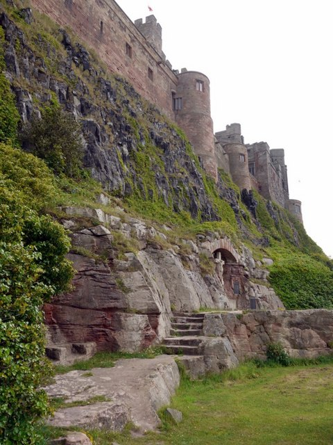 Cliffs on the south side of Bamburgh Castle