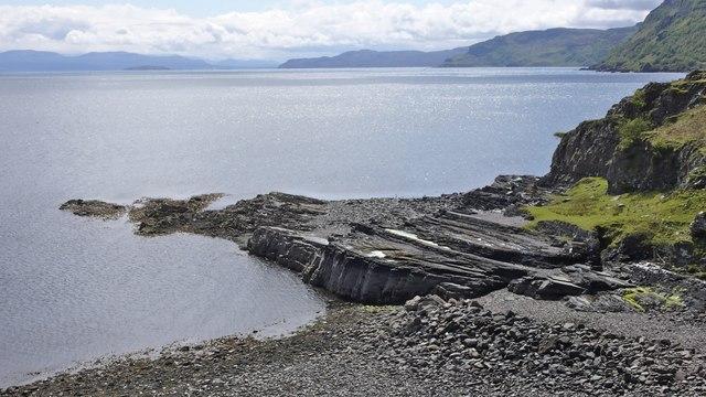 Rock strata on the shore at Brochel, Raasay