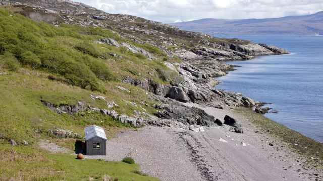 Shingle beach with beach house, Brochel, Raasay