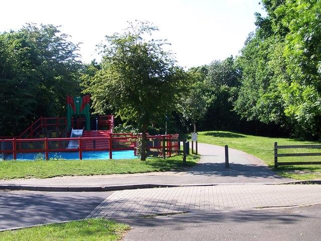 Cycle path and play area, Hazel Farm