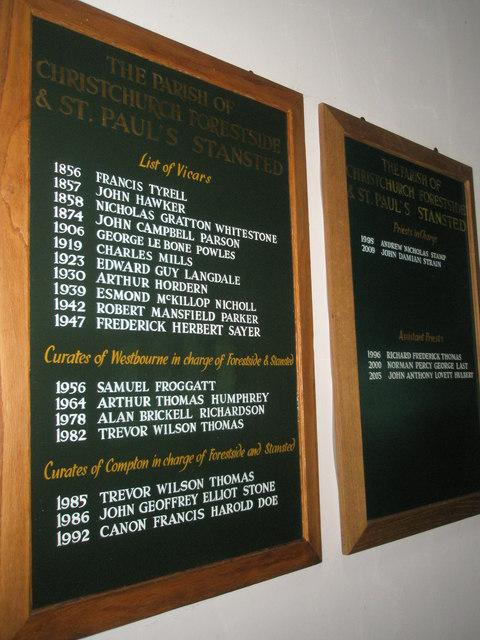 Christ Church, Forestside- incumbency board