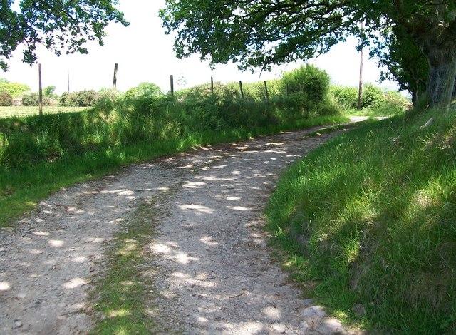 Farm track linking Tyddyn Crythor with the public road