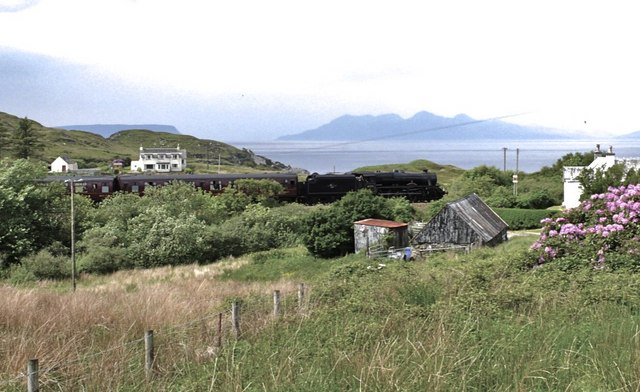 Fort William to Mallaig steam loco passing through Glasnacardoch