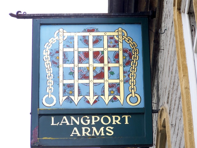 Sign for the Langport Arms Hotel