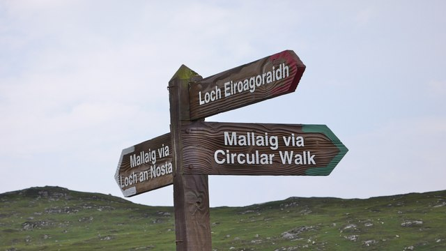 Footpath signpost on the route from Loch an Nostarie