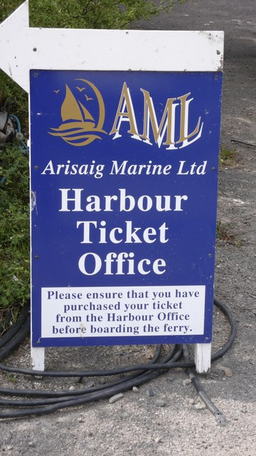 Arisaig Marine sign for tickets (to the islands Eigg, Rum and Muck)