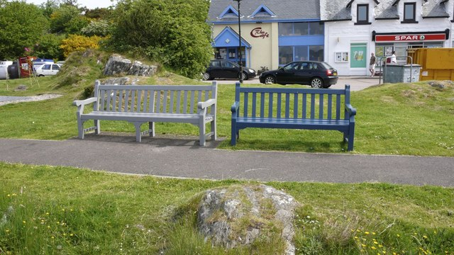Benches overlooking the bay at Arisaig
