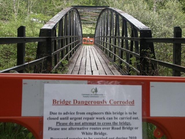 Disused footbridge over River Garry at Invergarry