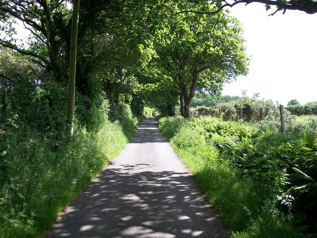 View eastwards along the lane in the direction of Criccieth