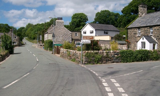 Minor road junction by Eglwys St Ioan Fedyddiwr Church