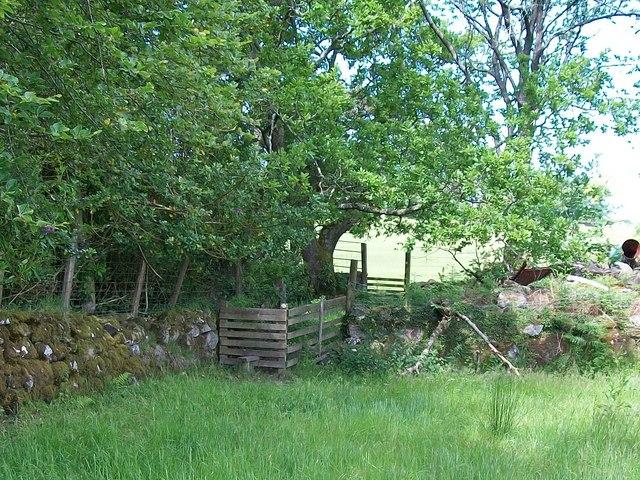 Stile and hurdle on the Lleyn Coastal Path at Gwynfryn