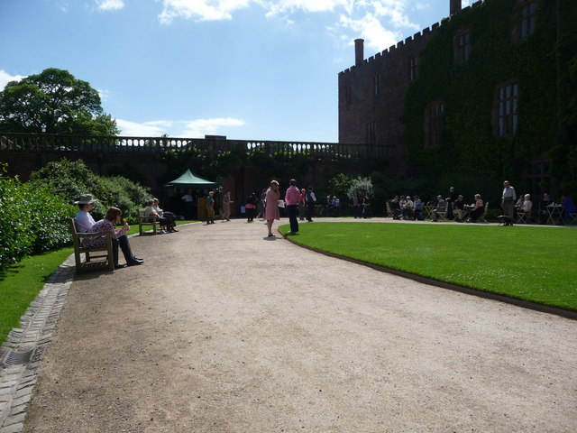 Powis Castle main courtyard in June