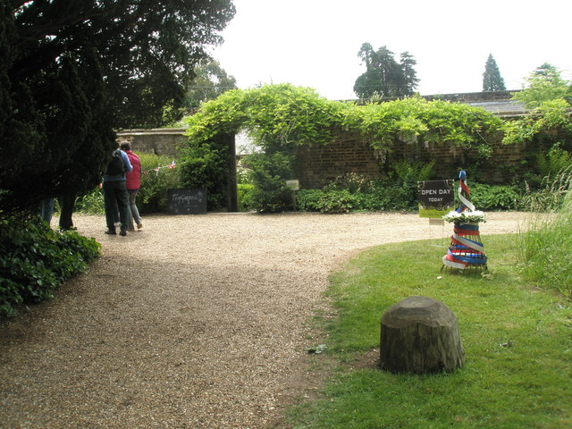 Looking from the chapel towards the walled garden at Stansted House