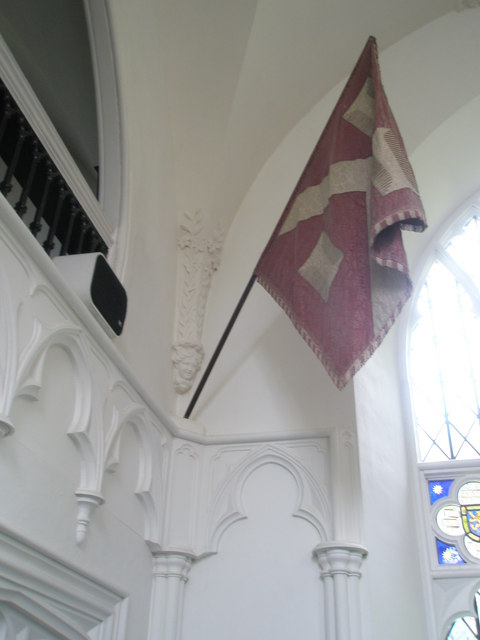 Chapel, Stansted Park- flag depicting the arms of The Earl of Bessborough