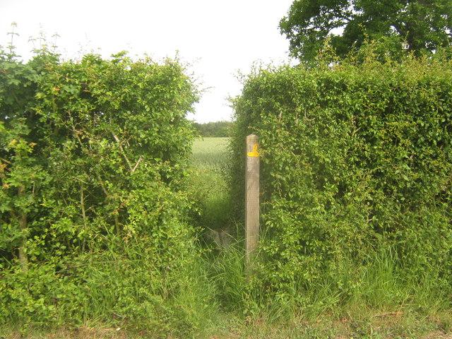 Footpath junction near Barrack Farm