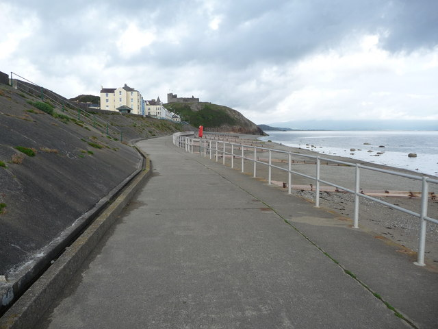 Part of Criccieth promenade, seafront and beach