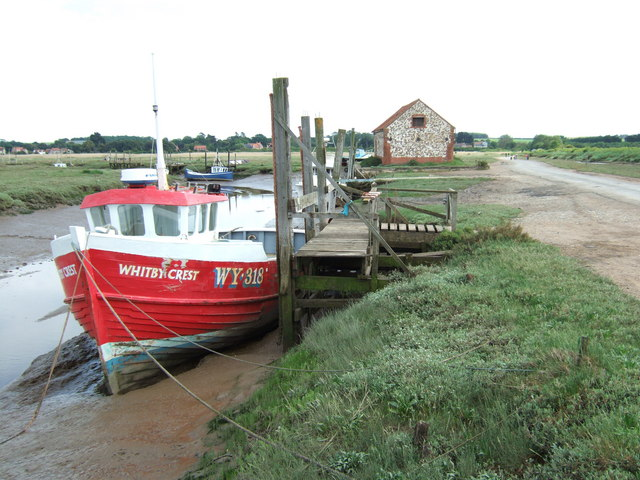 Fishing boat moored at Thornham, Norfolk