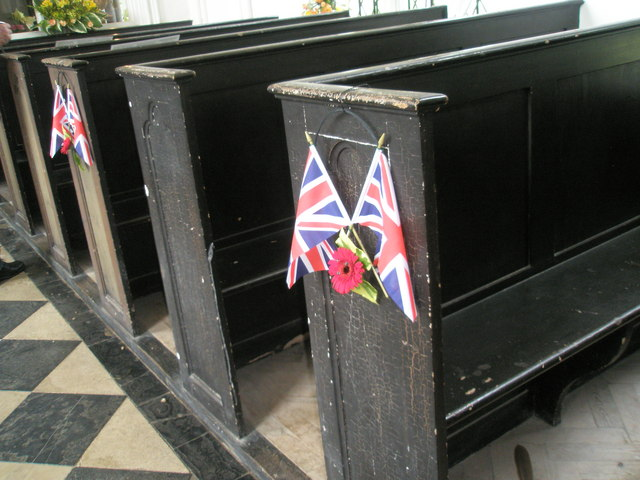 Chapel, Stansted Park- patriotic pew decorations