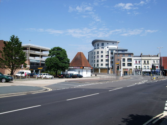 Road junction near Worthing Station