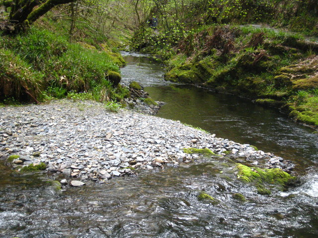 Alluvial deposition in Lydford Gorge