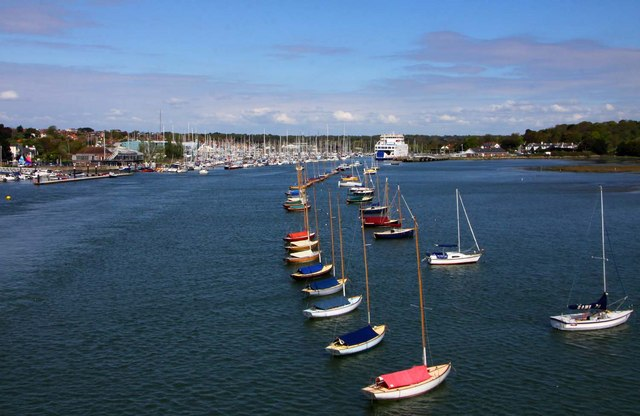 Boats moored on the Lymington River