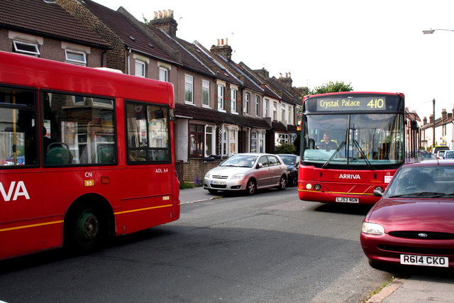 Croydon:  Buses in Davidson Road