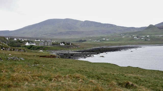 Stenscholl River flows into Staffin Bay