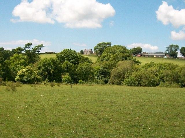 Fferm Chwilog Fawr Farm seen across the fields