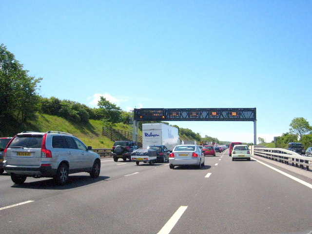 Motorway gantry on the M5 southbound at Prior's Wood