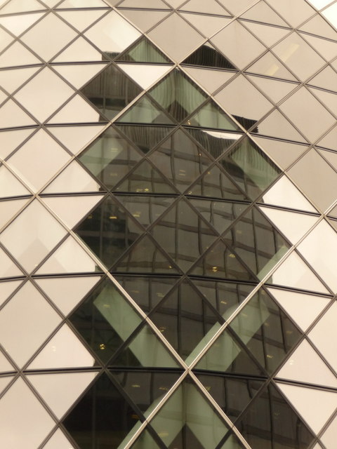 London: office block reflected in the Gherkin