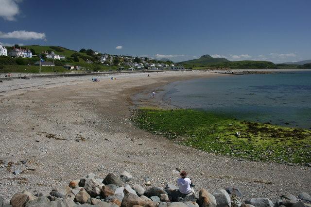 Enjoying a sunny day on Criccieth beach