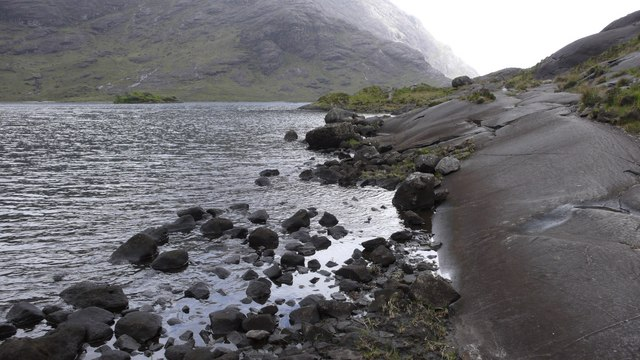 Massive slabs of Gabbro along the shoreline at Coruisk