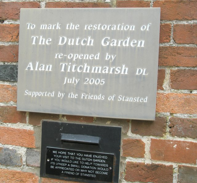 Plaque within the walled garden at Stansted House