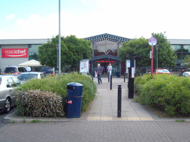 The entrance to Strensham Services on the M5 southbound