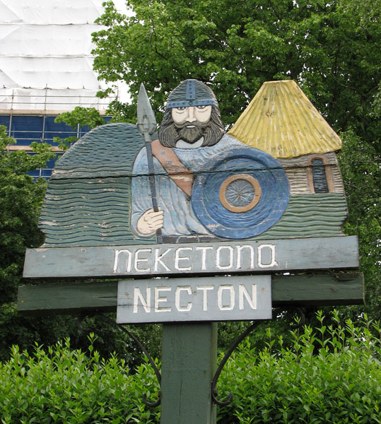 The village sign in Necton (close-up)