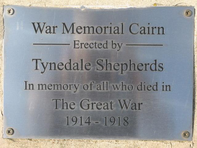 Plaque of the War Memorial Cairn on Plenmeller Common